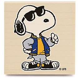Peanuts Joe Cool Snoopy Wood mounted Rubber Stamp