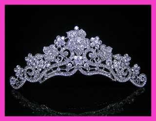 Wedding/Bridal crystal veil tiara comb CR215