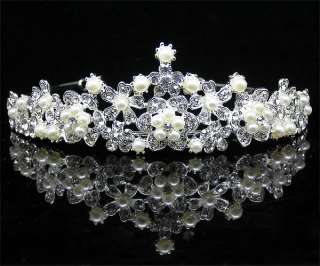 Wedding/Bridal crystal veil tiara crown headband CR190