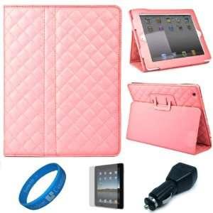 Pink Quilted Diamond Design Leather Portfolio Case Cover