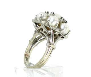 VINTAGE 14k WHITE GOLD, DIAMOND, PEARL & SAPPHIRE RING