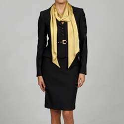 Anne Klein Womens 3 button Flannel Twill Skirt Suit with Gold Scarf