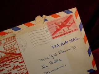 Vintage 1946 USS LEXINGTON ENVELOPE Mail +STAMP NAVY 2
