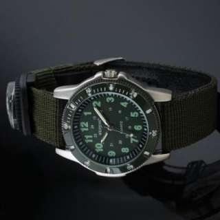 Compass Mens Boys Sport Green Face Canvas Band Army Man Wrist Watch