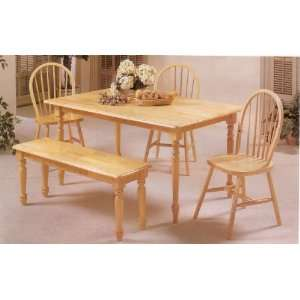 Natural Finish Farm House Solid Wood Table/Spindle Chr