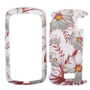 LG Genesis VS760 White Flowers with Red Leaves Hard Case