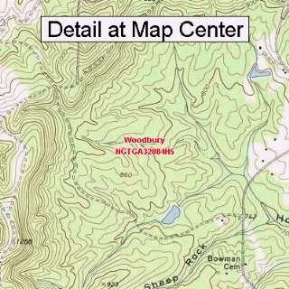 USGS Topographic Quadrangle Map   Woodbury, Georgia (Folded/Waterproof