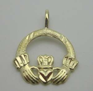 14k Yellow Gold Irish Claddagh Celtic Pendant Heart Love