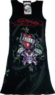 Womens Ed Hardy Black Love Kills Slowly Skull Tank Top
