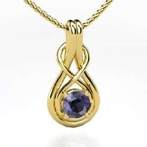 Infinity Knot Pendant, Round Iolite 14K Yellow Gold Necklace Jewelry