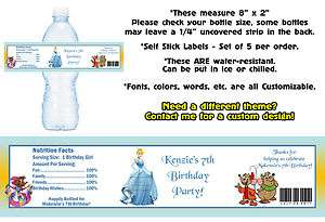 Princess Cinderella Printed Water Bottle Labels ~ Birthday Party