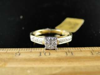TWO TONED GOLD CLUSTER ROUND CUT DIAMOND BRIDAL ENGAGEMENT CARA RING