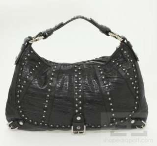 Isabella Fiore Black Embossed Ruched Leather & Silver Studded Hobo Bag