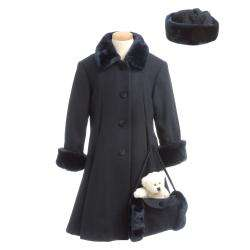 Trilogi Collection Girls Wool blend Faux Fur trimmed Coat