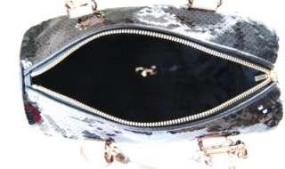 368 Michael Kors Grayson Sequins Medium Satchel Black