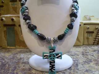 COWGIRL WESTERN BLUE TURQUOISE ZEBRA CROSS NECKLACE