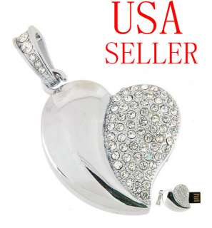 GB SWAROVSKI Crystal Heart Necklace Flash Drive usb