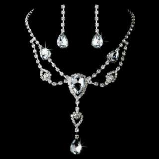 Bridal Jewelry Set Crystal Rhinestone Cabochon Y Drop T