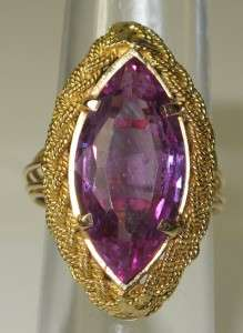 Yellow Gold 3.50ctw Amethyst Ring Size 6.5~Retail $2500. 6.8g