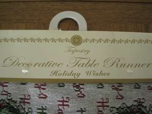 CHRISTMAS TABLE RUNNER TAPESTRY HOLIDAY 72 NEW