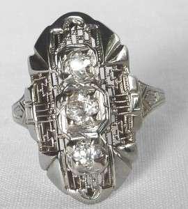 ANTIQUE 18K WHITE GOLD ART DECO 3 STONE.58 CT OLD MINE DIAMOND RING