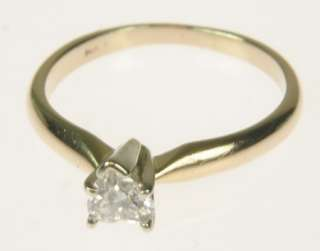 LADIES 14K GOLD HEART SOLITAIRE DIAMOND ESTATE RING 164120