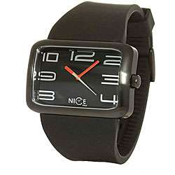 Nice Italy Mens Black Rubber Strap Watch