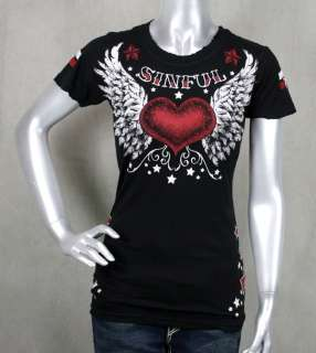 AFFLICTION Sinful womens ELVIRA baby T shirt crystals WINGS heart