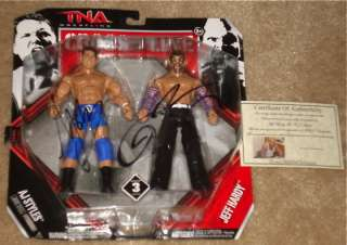 AJ STYLES & JEFF HARDY AUTOGRAPHED ACTION FIGURE (W/ PROOF) TNA WWE