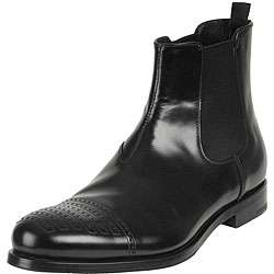 Prada Mens Black Leather Boots