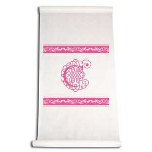 Ivy Lane 90 Feet by 36 Inch Aisle Runner, Fancy Font Letter C, White