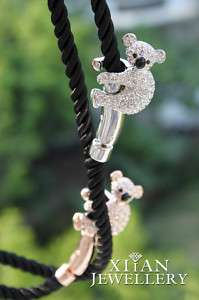 Lovely Silver Plated Swarovski Crystals Koala Necklace