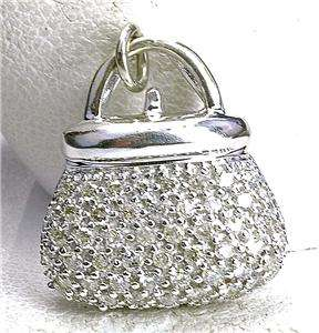 Estate 14k white Gold & Diamond Purse Charm Pendant