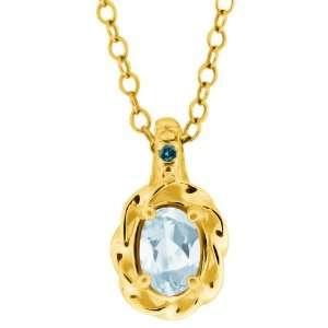 0.44 Ct Sky Blue Oval Aquamarine and Diamond Yellow Gold