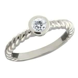 0.33 Ct Round White Topaz Argentium Silver Ring Jewelry