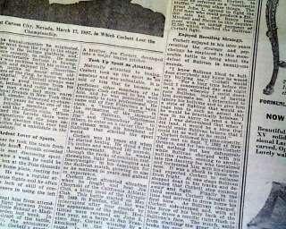 1933 JAMES Jim CORBETT Boxing Boxer DEATH Old Newspaper