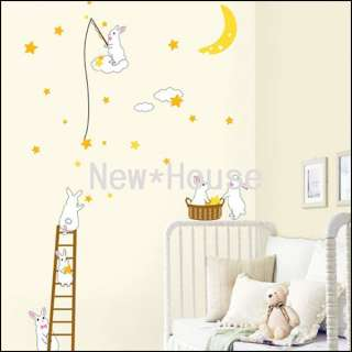 Rabbit Moon Wall Stickers REMOVABLE Decor Decal Z101