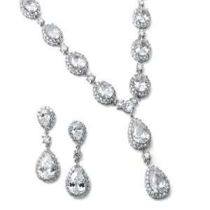 Bridal Necklace Earrings Set with Bold CZ Pears and Ovals Jewelry
