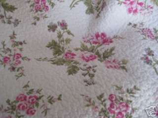 BEACH COTTAGE COUNTRY CLASSIC CHIC WHITE PINK ROSE BLOSSOM QUILT QUEEN