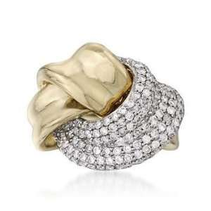 .95 ct. t.w. Round Diamond Knot Ring In 14kt Yellow Gold