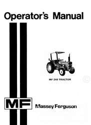 Massey Ferguson MF 245 MF245 Tractor Operators Manual