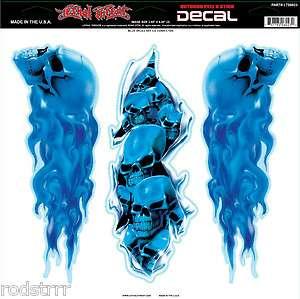 Lethal Threat Flaming Blue Skull Set Decal Sticker Art Graphic Biker