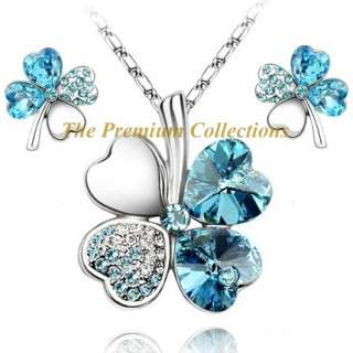 Swarovski Crystal Clover Necklace Earring SET Lake Blue