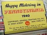 Esso 1940 Pennsylvania Sandard Oil Vinage Road Map |