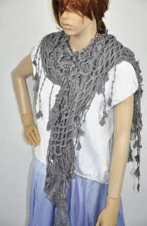 Cotton Gentle Elegant Hand Knit Lace Scarf Shawl Wrap Womens Grey