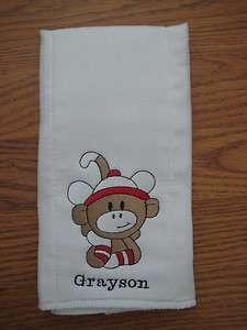 custom embroidered cloth diaper/burp cloth   baby Boy Sock Monkey