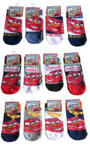 Pixar Cars Lightning Mcqueen Kids Boys Socks 6 PAIR 6 8 NEW