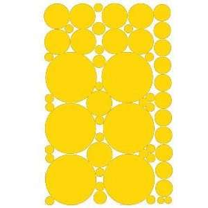 53 Yellow Vinyl Polka Dots Wall Decor Decals Stickers
