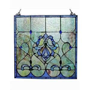 34 large tiffany style stained glass window panel bird w for 18x18 window