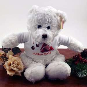 Plush Holiday White Teddy Bear with Hooded Sweatshirt